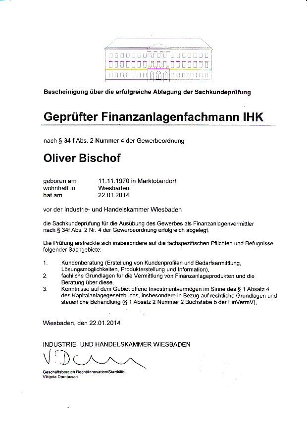 Fair Direkt | Zukunftsplan | Urkunde geprüfter Finanzanlagenfachmann IHK