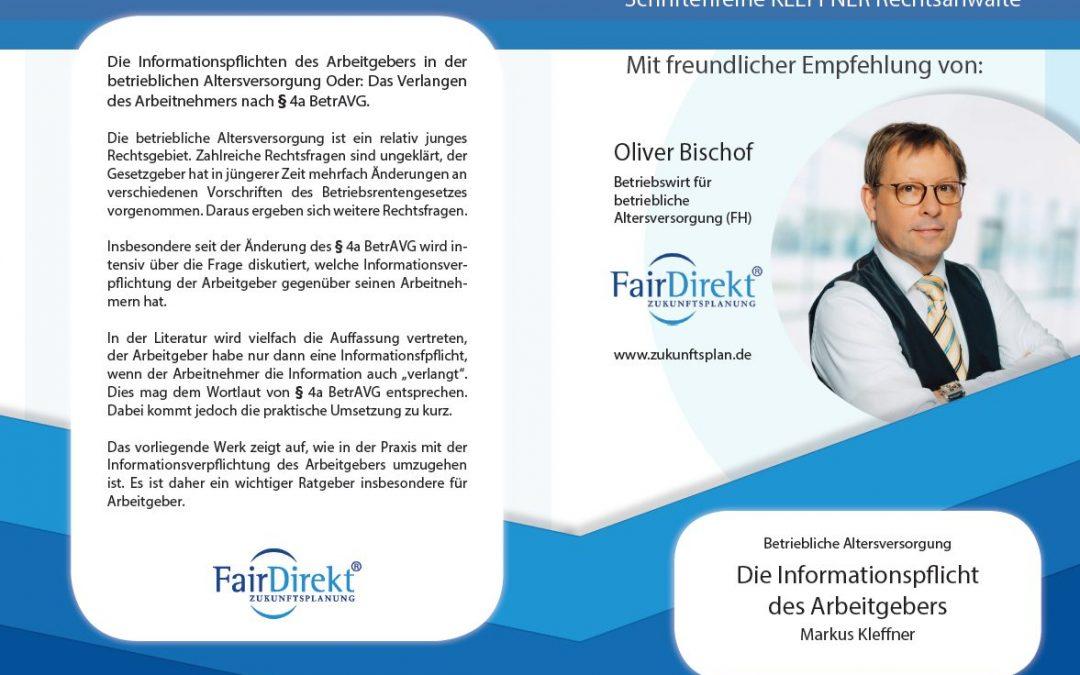 Buchempfehlung – Betriebliche Altersvorsorge: Die Informationspflicht des Arbeitgebers